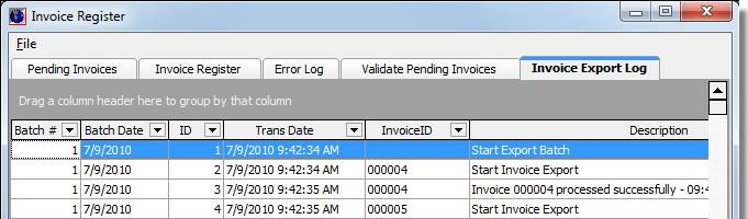 invoice export log