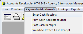 to create a new batch click the paymentsadjustments menu and then click enter cash receipts