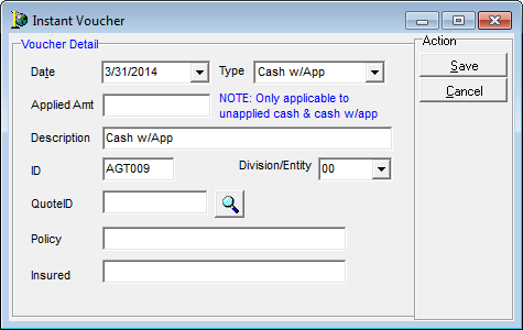 Create Invoice Template Enter Cash Receipts Store Receipt Generator Word with Nch Invoice Software Opens The Instant Voucher Dialog Box Used To Apply A Payment To A New  Submission That Does Not Currently Have An Invoice Associated With It Invoicing And Billing Excel