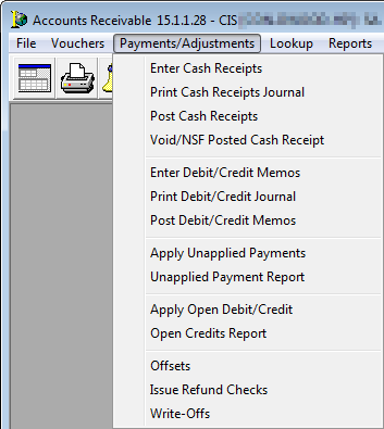 payments adjustments menu