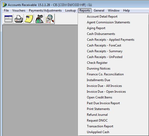 Reports Menu - Open invoice report