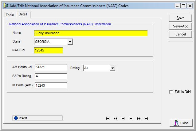 Naic Codes