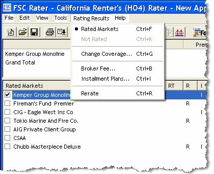 HO4 Renter's Rating Results View Menu Bar