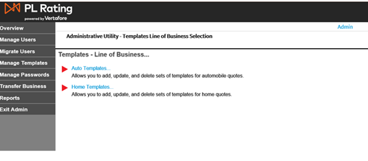 Create a home quote template choosing a line of business will open the template administrative utility line of business summary figure 3 wajeb Images